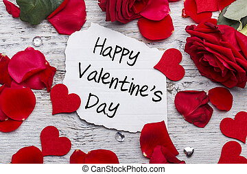 Happy Valentines day card with red rose