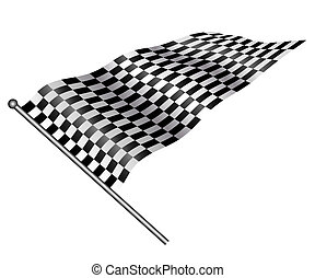 Checkered flag. - Checkered flag on white background.