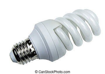 energy efficient light bulb isolated on white background...
