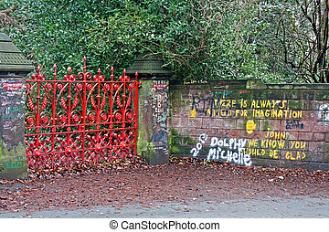 """The Beatles"" heritage trail, Strawberry Field Gates - Red..."