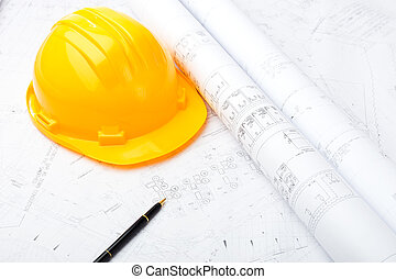 Construction drawing and safety helmet