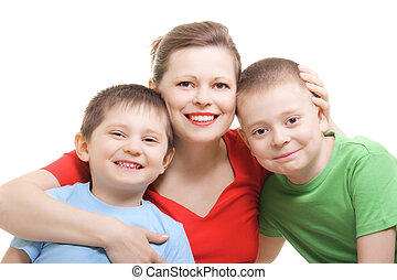 Mummy with two sons photo over white background