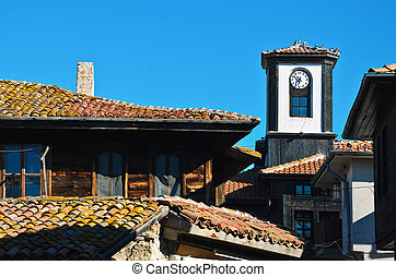 Old Nessebar - Clock Tower In The Old Nessebar. Bulgaria