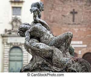 Rome - Fountain of the Naiads by Mario Rutelli, detail -...