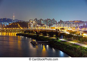 都市の景観, ソウル, 夜