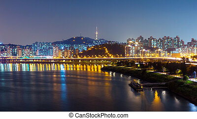 Seoul urban city at night