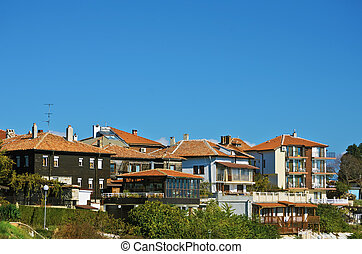 Nessebar - Houses Of Nessebar Under Blue Sky, Bulgaria