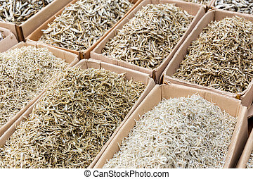 Dried salty fish in food market