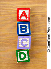 ABCD wooden toy block