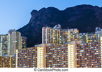 Kowloon residential district at night