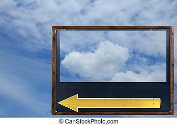 Blank frame and yellow icon with blue sky background