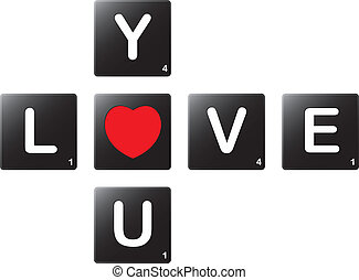 Love you crossword by scrabble tiles - Love you crossword by...