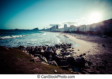 Copacabana beach in Rio de Janeiro. Brazil