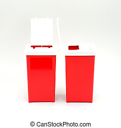 trash can - A small model of trash cans on a white...