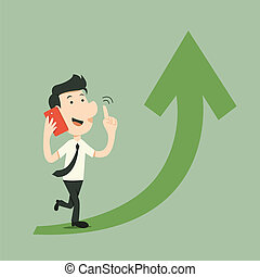 Smart Phone - businessman walk with smart phone and arrow up
