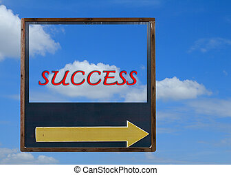 Success arrow with blue sky background