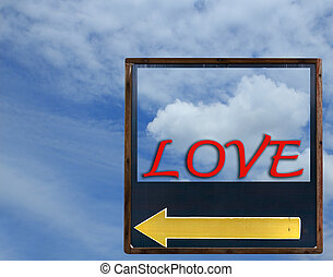 Love arrow with blue sky background