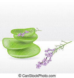 Realistic spa jade stones with lavender herbal plant
