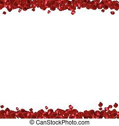 Red petals on a white background Abstract frame with place...