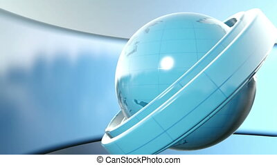 Planet at blue background - 3D Computer generated globe...