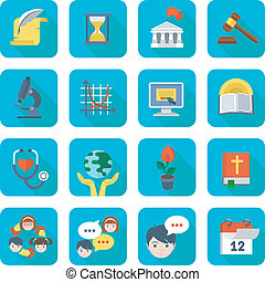 Square School Icons Set - Set of square flat educational...