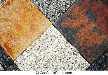 Four different granite tiles textur