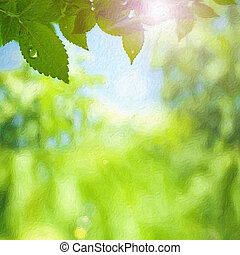 Summer foliage Impasto art print stylezed backgrounds