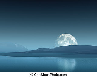 Big moon over the sea and mountains