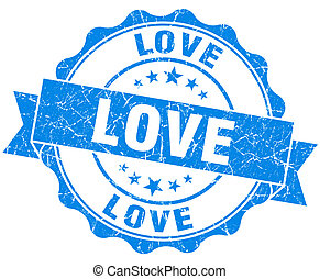 love blue grunge seal isolated on white background