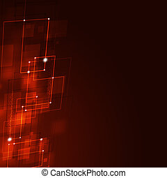 Business Square Shapes Red Background