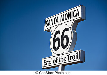 Route 66 End of Trail road sign in Los Angeles, California.