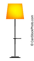 Yellow floor lamp on a white background
