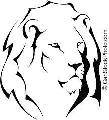 Lion head on a white background