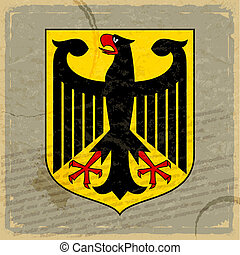 Coat of arms of Germany on the old postage card