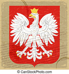 Coat of arms of Poland on the old postage card