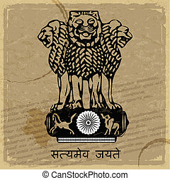 Coat of arms of India on the old postage card