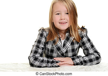 little girl wearing checkered jacke - portrait of little...