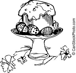 Easter cake with eggs and flowers i