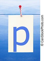 Seamless washing line with paper showing the letter p -...