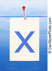 Seamless washing line with paper showing the letter x -...
