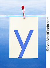 Seamless washing line with paper showing the letter y -...