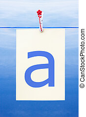 Seamless washing line with paper showing the letter a -...