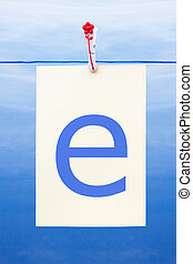 Seamless washing line with paper showing the letter e -...