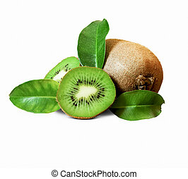 Kiwi fruits isolated on white - Fresh Kiwi Fruits Isolated...