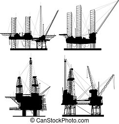Silhouettes of drilling platform - Silhouettes of oil...