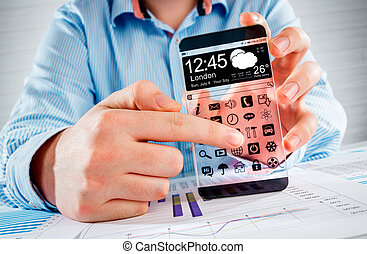 Smartphone with transparent screen in human hands. -...