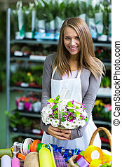 Florist - Young florist shop flowers