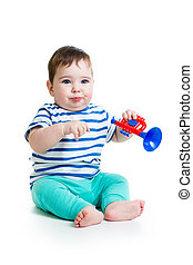 lustiges, Junge, spielende, Spielzeuge,  baby, Musikalisches
