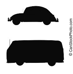 vw silhouettes - silhouettes of popular German vehicle from...