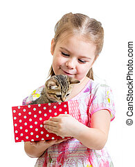 箱, 贈り物, 子ネコ, 保有物, 子供, 女の子, 幸せ
